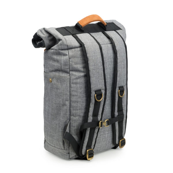 The Drifter Crosshatch Grey Rolltop Backpack Bag by Revelry Supply UK